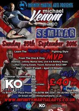 Knockout Clothing sponsoring Infinity Martial Arts Presents Michael Venom Page Seminar in Yeovil, Somerset