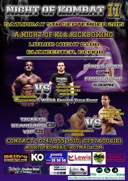 Knockout Clothing is sponsoring Night of Kombat II in Gloucester