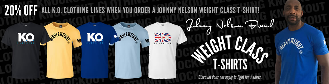 20% OFF all K.O. Clothing lines when you order a Johnny Nelson t-shirt!
